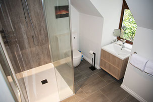 our en suite bathroom with storage space